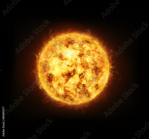 Sun on black background