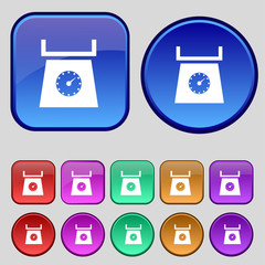 kitchen scales icon sign. A set of twelve vintage buttons for yo