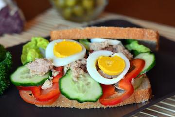 Rye bread sandwich with tuna fish, eggs, tomato and cucumber