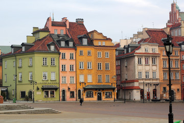 Buildings in Old Town. Warsaw, Castle Square. Poland.
