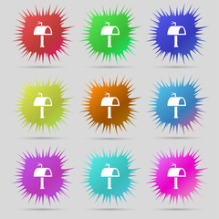 Mailbox icon sign. A set of nine original needle buttons. Vector