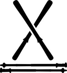 Skis with Ski Sticks
