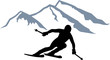 Skier Silhouette Mountains - 80686012