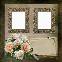 Frames, a bouquet of roses, old letters on a vintage background
