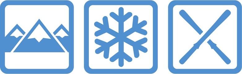Winter Icons Mountains Snowflake Skis
