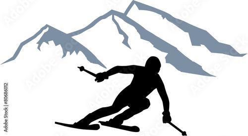 Zdjęcia na płótnie, fototapety, obrazy : Skier Silhouette Mountains