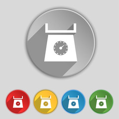 kitchen scales icon sign. Symbol on five flat buttons. Vector