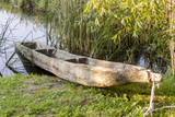 Old wooden canoe in Biskupin Museum - Poland.