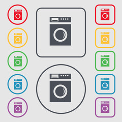 washing machine icon sign. symbol on the Round and square button