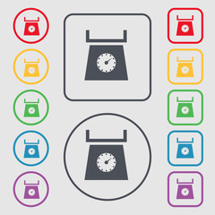 kitchen scales icon sign. symbol on the Round and square buttons
