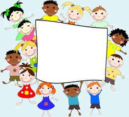 Illustration of children of different races behind a banner on a