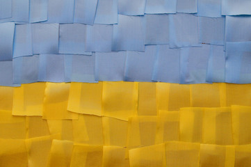Ukrainian flag from a piece of cloth
