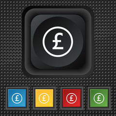 Pound sterling icon sign. symbol Squared colourful buttons on bl