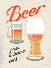 Vintage style poster. Retro vector beer poster.