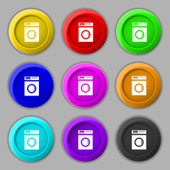 washing machine icon sign. symbol on nine round colourful button