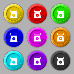 kitchen scales icon sign. symbol on nine round colourful buttons