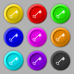 Key icon sign. symbol on nine round colourful buttons. Vector