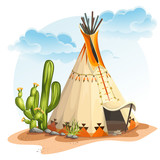 North American Indian tipi home with cactus and stones - 80688427