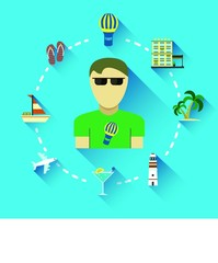 Modern flat icons on the theme of travel.