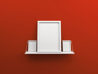 red wall with shelf and blank poster photo frame 3d