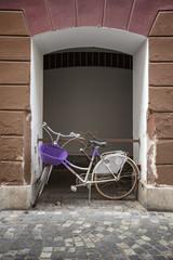 bicycle on the street in Ljubljana in Slovenia
