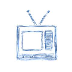 Hand drawn sketch of a vintage tv