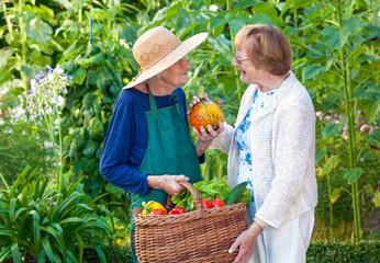 Senior Women at the Farm With Basket of Veggies