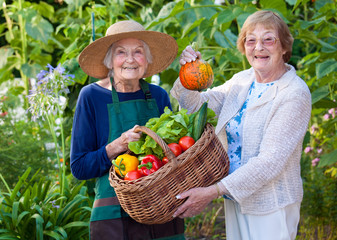 Senior Women Showing Farm Vegetables in a Basket