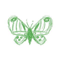 Vector illustration of a creative butterfly sketch icon