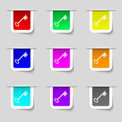 Key icon sign. Set of multicolored modern labels for your design