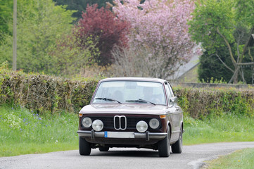 voiture BMW sur route de campagne