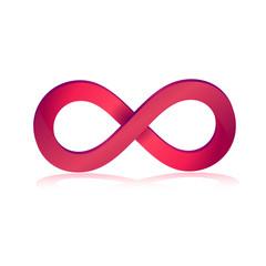 Infinity symbol in pink 3d