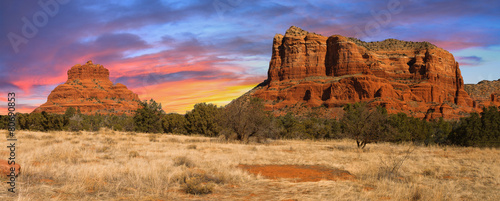 Leinwanddruck Bild Sunset Vista of Sedona, Arizona