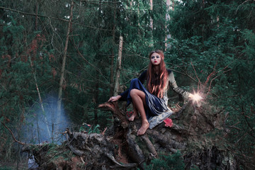 beautiful witch in forest