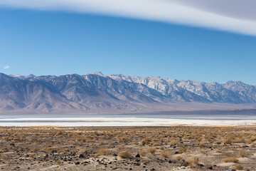 Saline Owens lake with Sierra Nevada mountains