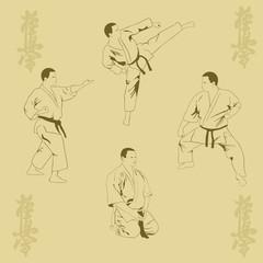 Four men show karate.