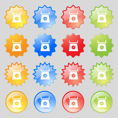 kitchen scales icon sign. Big set of 16 colorful modern buttons