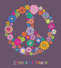Peace sign. Floral colorful.