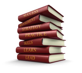 Stack of leadership related books (clipping path included)