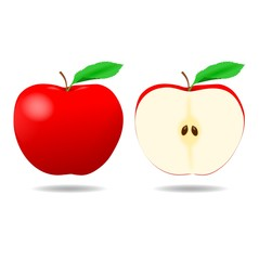 Red Apple and a half - Illustration
