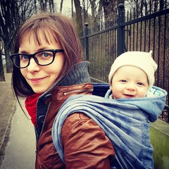 Babywearing walk happy baby mum park