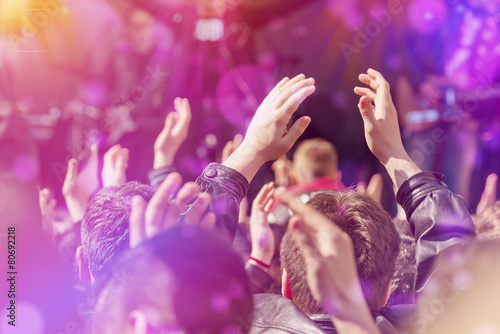 Fans Applauding To Music Band Live Performing on Stage - 80692218