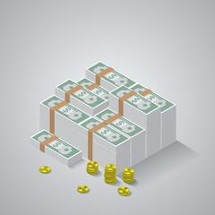 Big stacked pile of cash. Hundreds of dollars. Flat style isomet