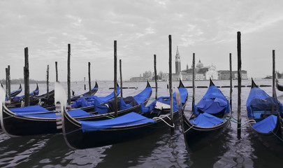 Gondolas and Castle on Grand Canal in Venice, Italy