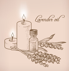Lavender essential oil and candles