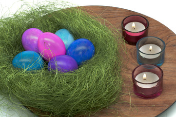 Easter Eggs into a Sisal Basket