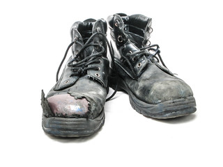 worn safety boots