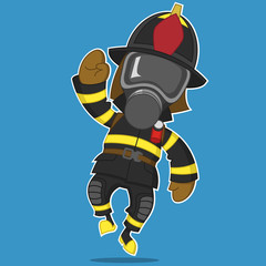 firefighter rejoices