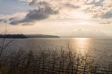Lake view at sunset - Bracciano lake (Italy)
