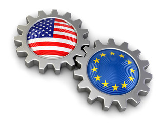 USA and European union flags on a gears